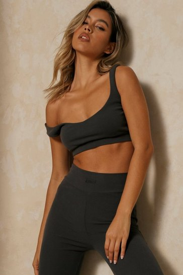 Grey Misspap Label Brushed Rib Scoop Neck Bralet
