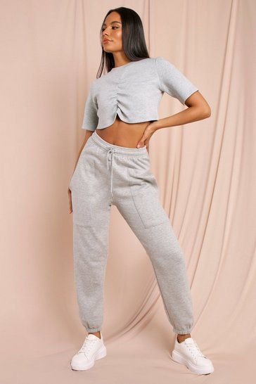 Grey Pocket Detail Oversized Soft Jogger
