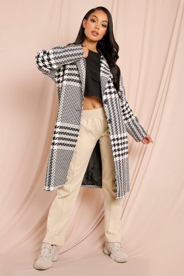 Black Checked Oversized Boyfriend Coat