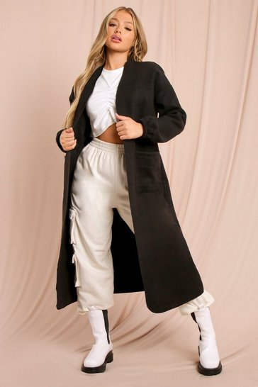 Black Collarless Ruched Sleeve Wool Look Coat