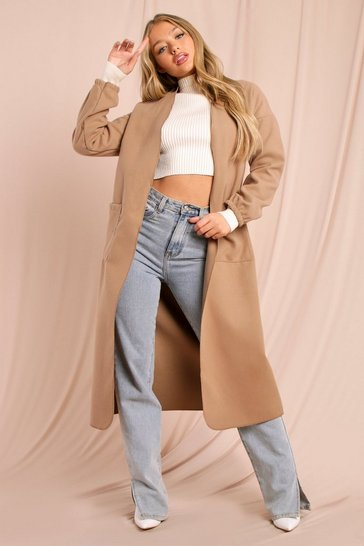 Camel Collarless Ruched Sleeve Wool Look Coat