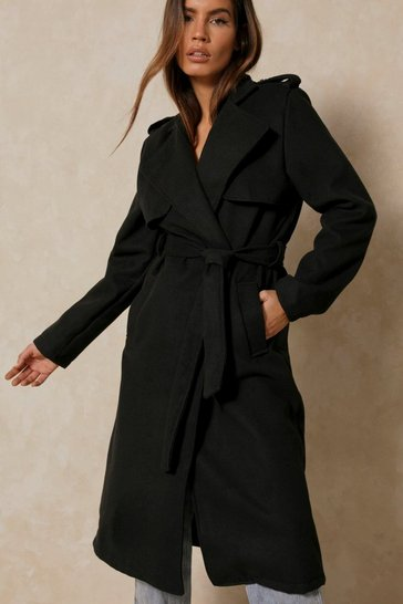 Black Military Style Belted Midi Coat