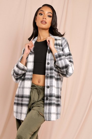 Black Brown Oversized Checked Shacket