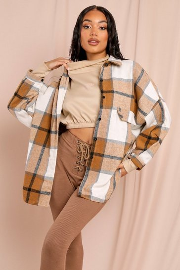 Camel Oversized Brushed Check Shirt