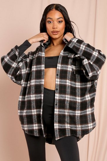 Black Oversized Brush Checked Shirt