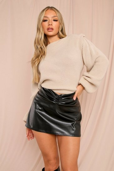 Black Leather Look Ruched Front Mini Skirt