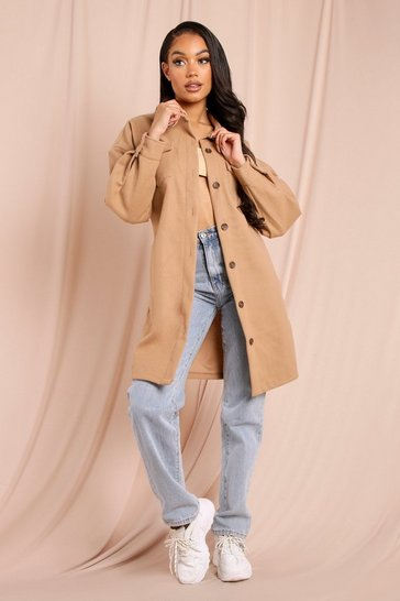 Camel Oversized Longline Shacket