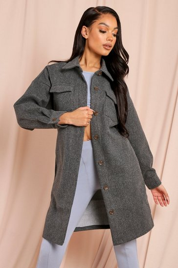 Charcoal Oversized Longline Shacket