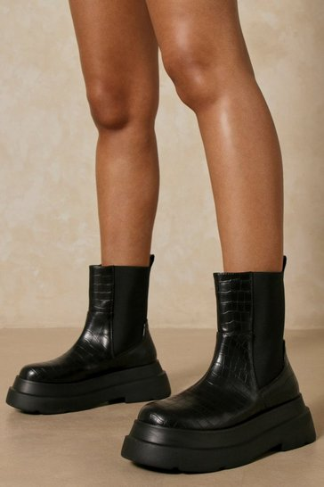 Black Croc Chunky Sole Calf High Boots