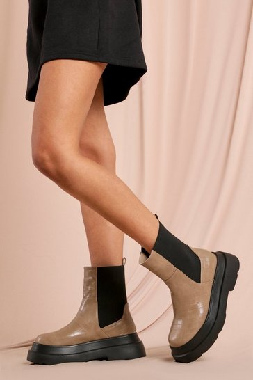 Nude Croc Chunky Sole Calf High Boots