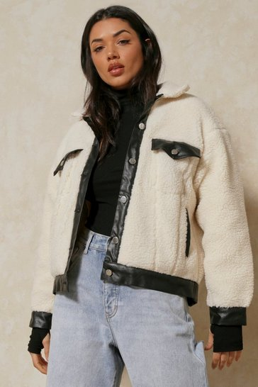 Cream Pu Trim Oversized Borg Pocket Detail Shacket