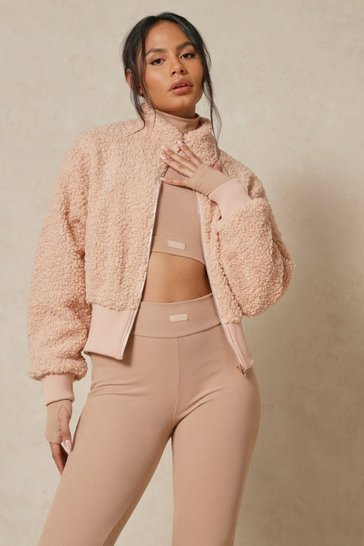 Camel Oversized Rib Trim Zip Front Teddy Bomber Jacket