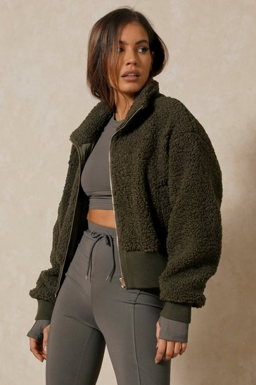 Khaki Oversized Rib Trim Zip Front Teddy Bomber Jacket