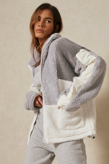 Grey Oversized Colour Block Teddy Jacket