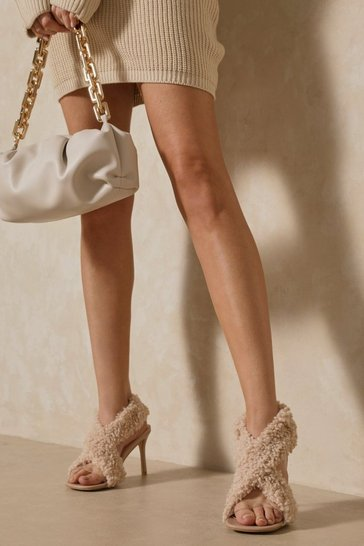 Nude Teddy Fur Padded Cross Over Heel Mules