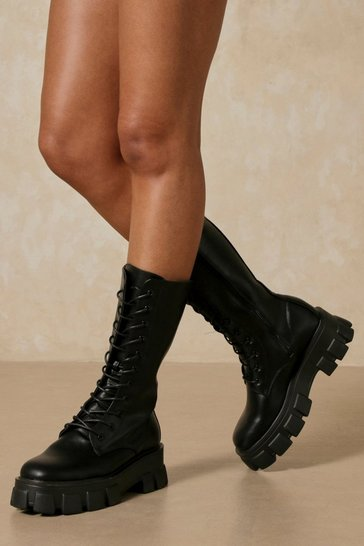 Black Faux Leather Knee High Lace Up Boots