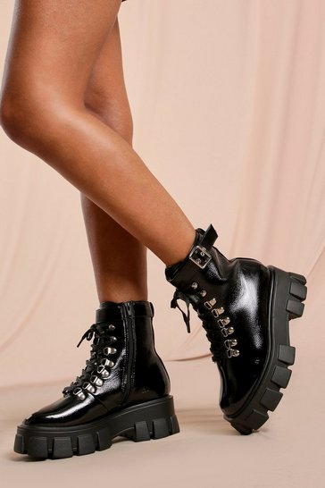 Black Patent  Buckle Detail Lace Up Ankle Boot