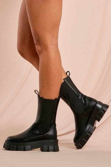 Black Faux Leather Calf Ankle Boot