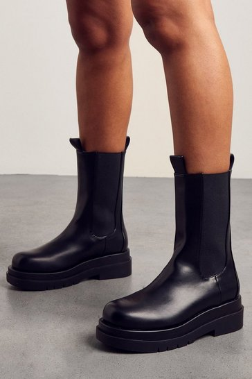 Black Leather Look Chunky Sole Ankle Boot