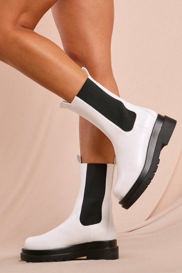 White Faux Leather Chunky Sole Ankle Boot