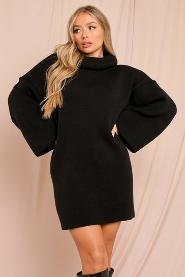 Black Oversized Turtle Neck Fluted Sleeve Jumper Dress