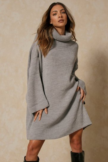 Grey Oversized Turtle Neck Fluted Sleeve Sweater Dress