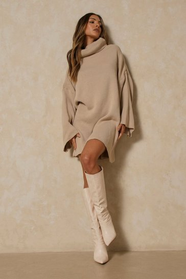 Grey Oversized Turtle Neck Fluted Sleeve Jumper Dress