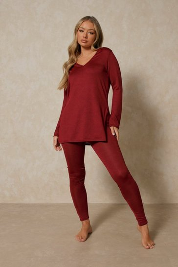 Wine V Neck Oversized Top & Leggings Lounge Set