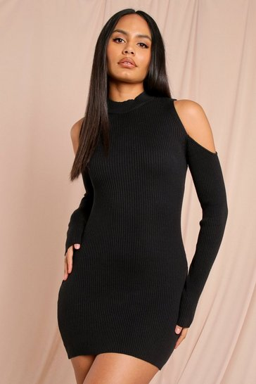 Black Cold Shoulder Knitted Rib Midi Dress
