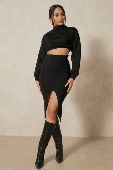 Black Knitted Front Split Midi Skirt