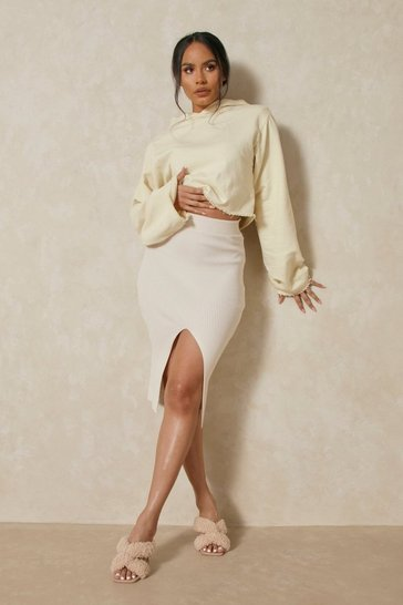 Cream Knitted Front Split Midi Skirt