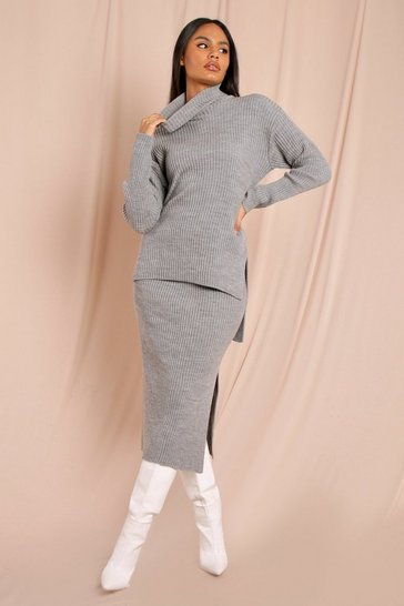 Grey Chunky Rib Turtle Neck Oversized Jumper