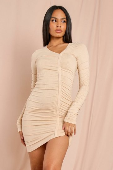 Stone Rib Long Sleeve Ruched Front Dress