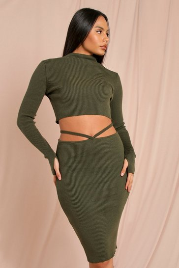 Khaki Grown On Turtle Neck Knitted Jumper