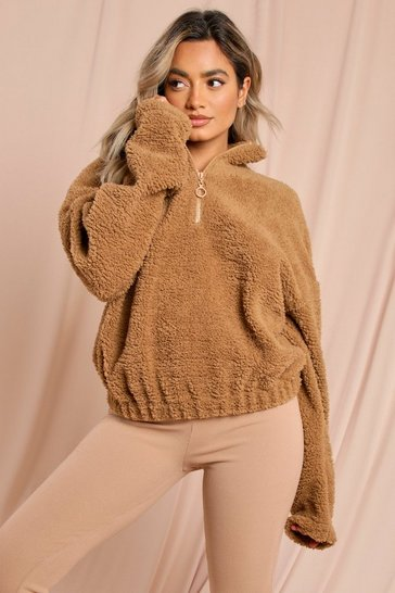 Camel Borg Zip Neck Sweatshirt