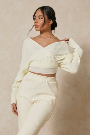 Cream Off The Shoulder Twist Jumper