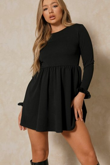 Black Ruffle Long Sleeve Smock Dress