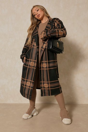 Navy Checked Collared Belted Trench Coat