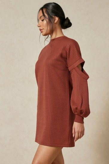 Chocolate Waffle Oversized Sweat Dress