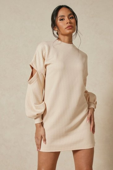 Stone Waffle Oversized Sweat Dress