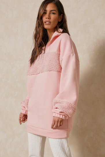 Blush Oversized Borg Panel Jumper