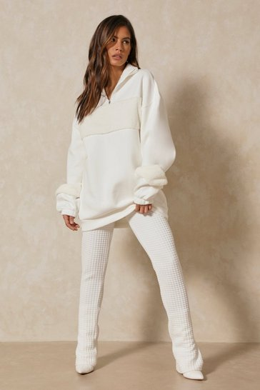 Cream Oversized Borg Panel Jumper