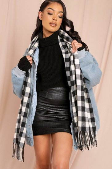 Black Gingham Checked Scarf