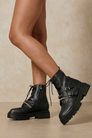 Black Leather Look Chain Detail Chunky Ankle Boot