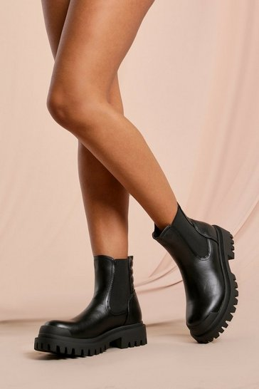 Black Leather Look Padded Detail Chelsea Boot
