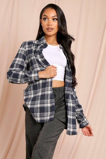 Blue Checked Oversized Shirt