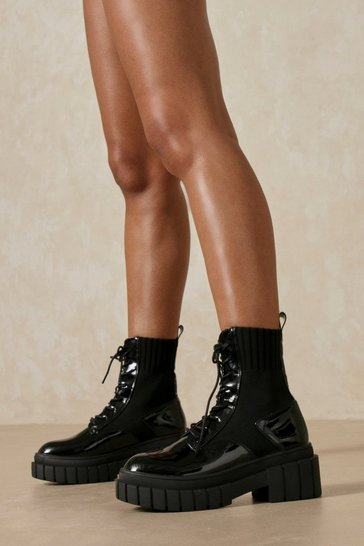 Black Patent Leather Look Rib Detail Ankle Boot