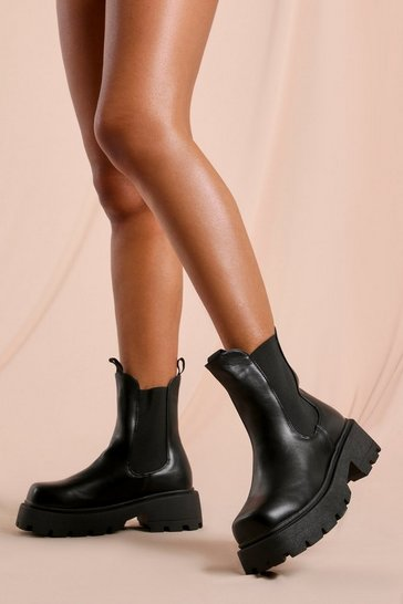 Black Leather Look Chunky Sole Chelsea Boot