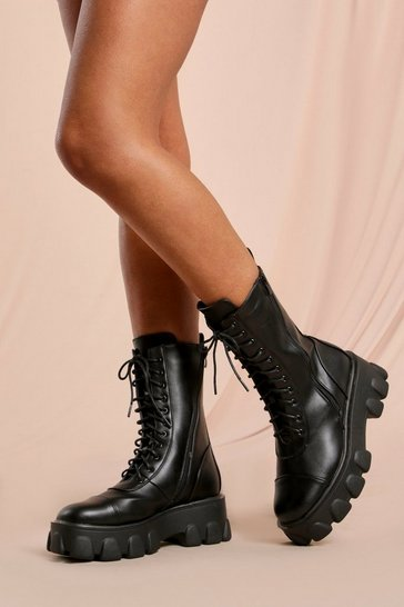 Black Leather Look Chunky Lace Up Ankle Boot