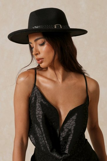 Black Buckle Detail Fedora Hat